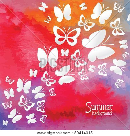 Watercolor background and paper butterflies. Vector.
