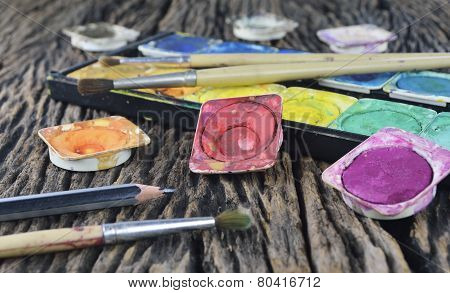 Water Color Paint Box And Paint Brush