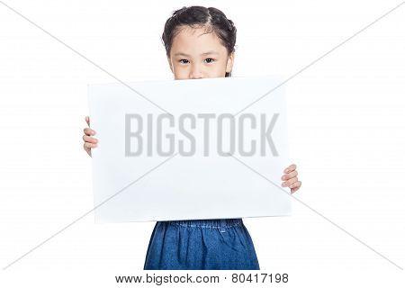 Asian cute gir hold a blank sign