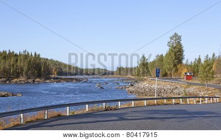 View of a rest area by a river