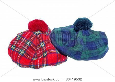 Traditional Scottish Red And Green Tartan Bonnets.