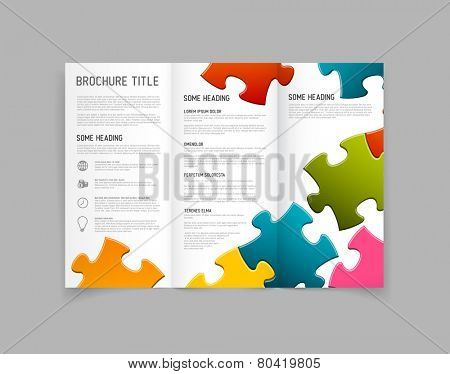 Modern Vector three fold brochure / leaflet / flyer design template with puzzle pieces