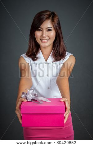 Beautiful Asian Girl Give A Gift Box