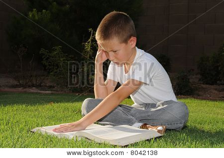 Lectura del niño al aire libre