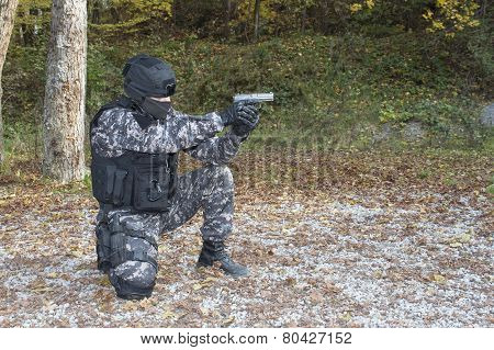 Special anti-terrorist squad, shooting from a kneeling position