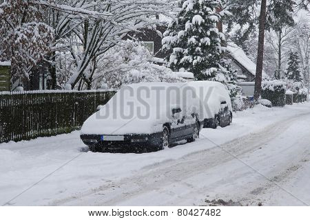 Parking Cars Covered With Snow