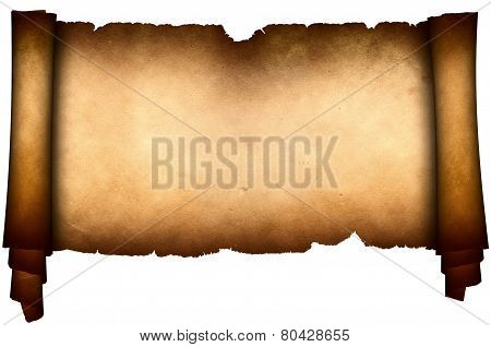 Antique Parchment On White Background.