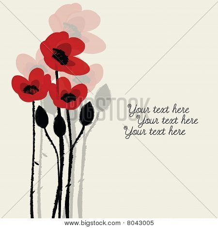 Greeting Card With Poppies