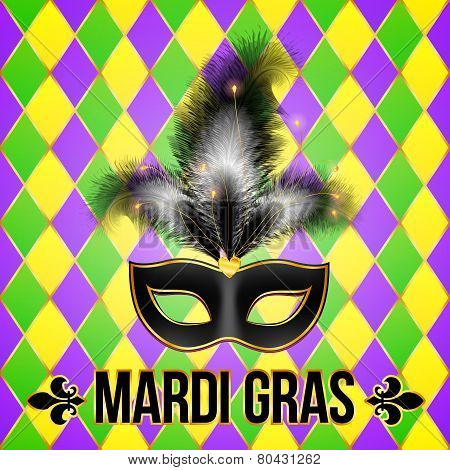 Black Mardi Gras mask with feathers on grid background