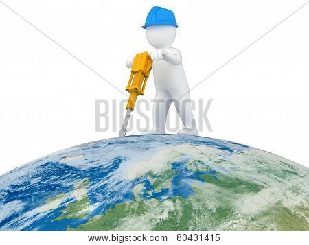 World Worker with jackhammer