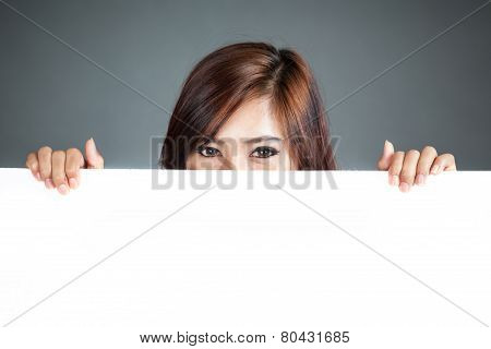 Close Up Asian Woman Hold A Blank Sign Close Her Lower Face
