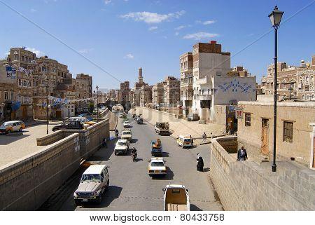 Street of the old Sanaa city, Yemen.