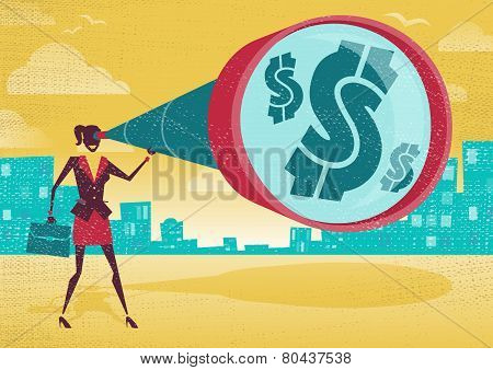 Businesswoman Looks Through Her Telescope To Find The Dollar.