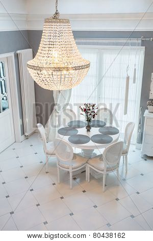Crystal Chandelier In Dinning Room