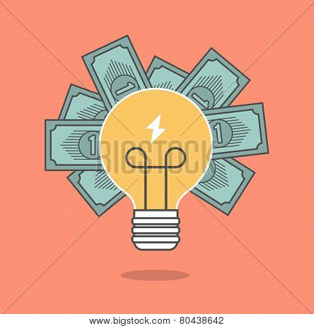 Concept Of Crowdfunding, Light Bulb And Money
