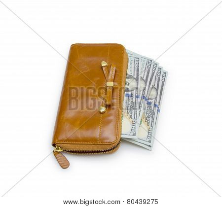 Purse With Hundred Dollar Banknote Isolated On White Background Cutout
