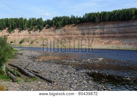 Geological Outcrop On The Riverbank