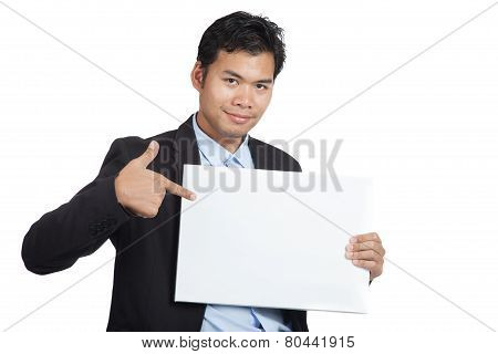 Asian Businessman Point To A Blank Sign