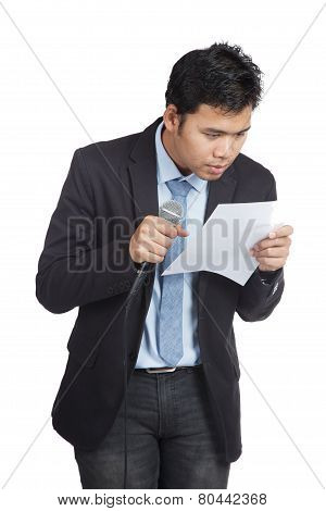 Asian Businessman Hesitate To Speak Look At A Paper