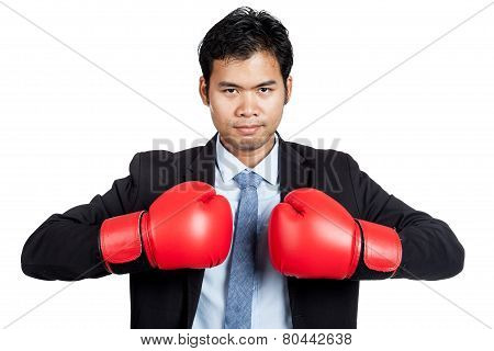 Asian Businessman With Red  Boxing Glove