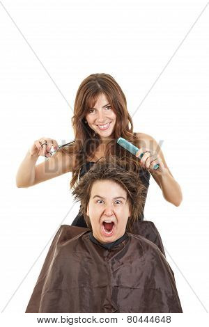 Boy Shocked With Face Expression With Long Hair At Smiling Female Hairdresser