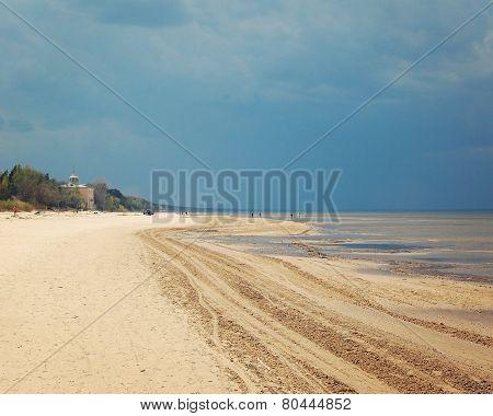 Empty Jurmala Beach Out Of Season - Toned Photo.