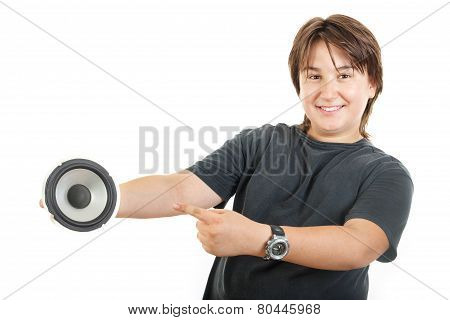 Confidently Boy Posing And Happy Holding Speaker Bass While Showing With Finger