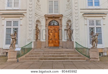 Entrance Of Myslewicki Palace (1779) In Warsaw, Poland
