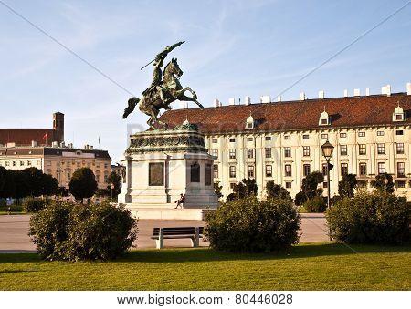VIENNA, AUSTRIA - SEP 8, 2012: horse and rider statue of archduke Karl in vienna at the Heldenplatz
