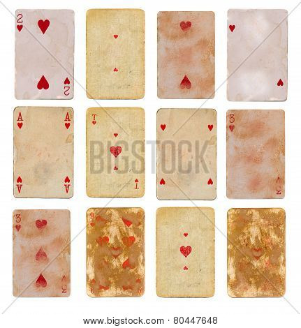 Twelve  Collection Old Used Playing Card Of Hearts Paper Backgrounds