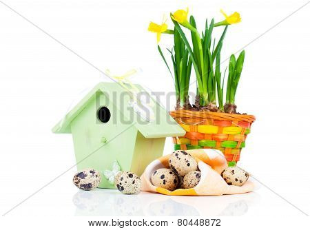 Quail Eggs With Birdhouse, On A White Background