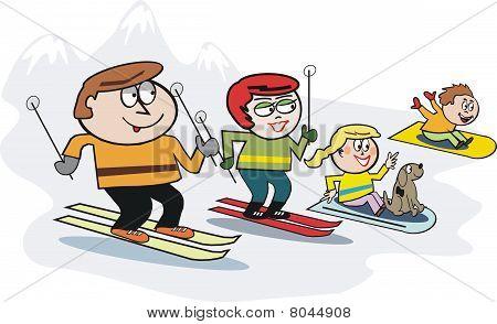 Family skiing cartoon