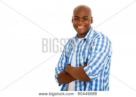 good looking african american man arms folded