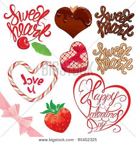 Set Of Elements For Valentines Day Design. Calligraphic Text Sweet Heart, Happy Valentines Day, Choc