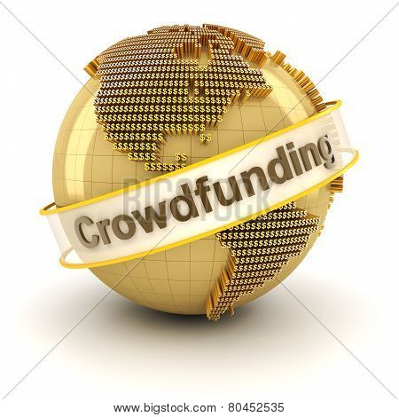 Crowdfunding symbol with globe formed by dollar signs, 3d render