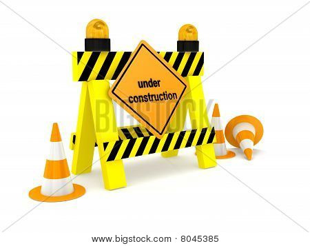 """""""under Construction"""" Sign Over White"""