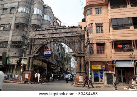 KOLKATA, INDIA - FEBRUARY 15: Thakurbari main gate, home of Rabindranath Tagore at Jorasanko, Kolkata, West Bengal, India on February 15, 2014.