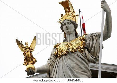VIENNA, AUSTRIA - DECEMBER 10: Pallas Athene in front of Austrian parliament in Vienna, Austria on December 10, 2011.
