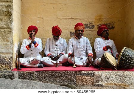 Jodhpur, India - January 1, 2015: Traditional Musicians At Mehrangarh Fort