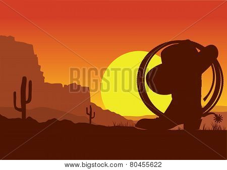 Wild West American Desert Landscape With Cowboy Boot And Lasso