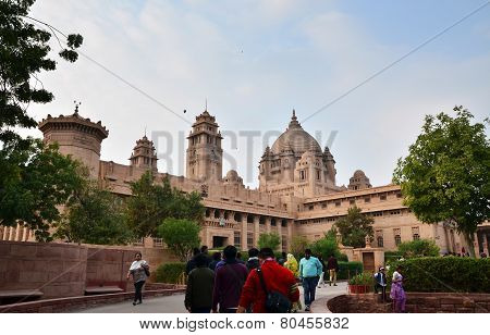 Jodhpur, India - January 1, 2015: People Visit Umaid Bhawan Palace At Jodhpur In Rajasthan, India