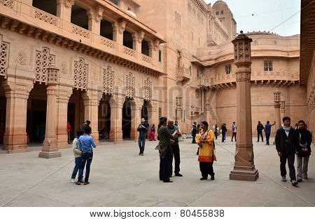Jodhpur, India - January 1, 2015: People Visit Umaid Bhawan Palace