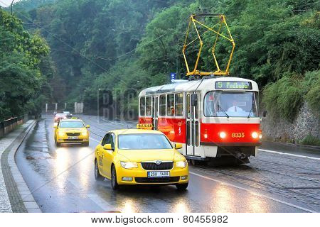 Tatra T3R And Taxi Cars