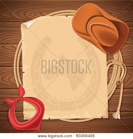 Wild West Background With Cowboy Hat And American Lasso On Wood Texture