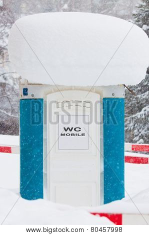 Mobile Toilet Covered In Snow