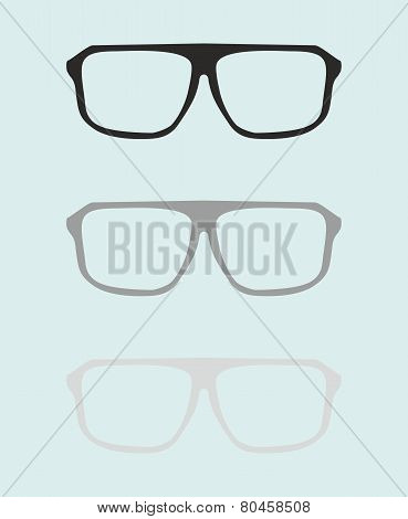 Glasses set with black and grey holder retro hipster object isolated on blue background
