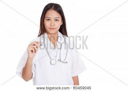 Young Asian Female Doctor With A Red Marker