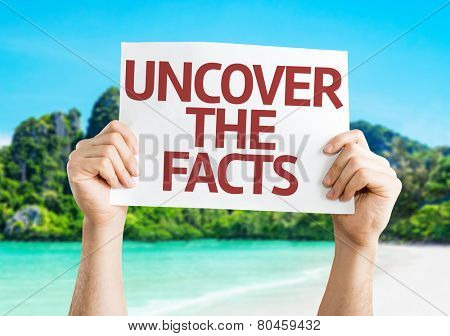 Uncover the Facts card with a beach on background