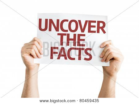 Uncover the Facts card isolated on white background