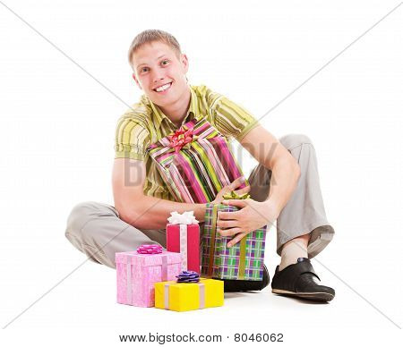 Happy Man With Many Gift Boxes